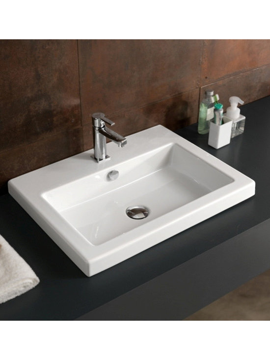 "Tecla - Beautiful Ceramic Bathroom Sinks By Tecla - This beautiful self rimming bathroom sink is made and designed in Italy. The sink is made of high-quality white ceramic. The sink dimensions are 23.6"" x 17.7""."