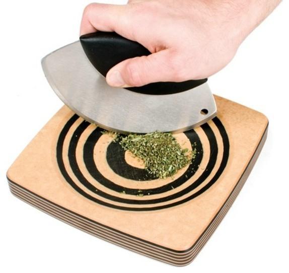 "Epicurean Mincing Bowl 8"" x 8"" w/Mezzaluna - Natural/Slate traditional-kitchen-knives-and-accessories"