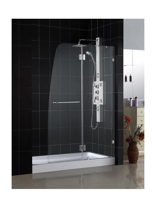 "DreamLine Aqua Lux 46"" Shower Door SHDR-3345728 - Looking for a modern shower door with an incomparable look? The DreamLine™ exclusive AQUA collection offers unique European design combined with flexible installation options and a superior value. The AQUA LUX presents two additional standard features: impressive 5/16"" glass thickness and self-closing solid brass hinges. A complete AQUA LUX installation consists of a stationary glass panel attached to the wall with wall mount brackets and a hinged door designed to open outward. AQUA LUX offers left-wall or right-wall installation and is compatible with most standard bathtubs. With a wall mounted bracket design, AQUA LUX delivers the most frameless look of the AQUA door collection."