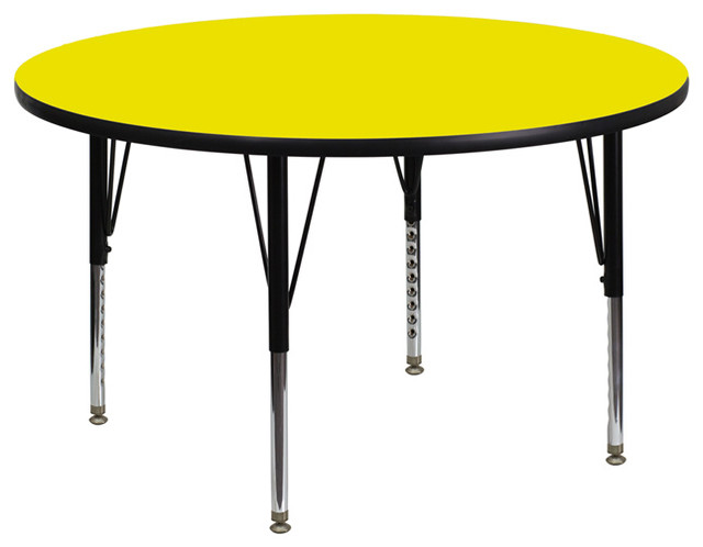 Activity Table With Thick High Pressure Yellow Laminate Top modern-kids-tables-and-chairs
