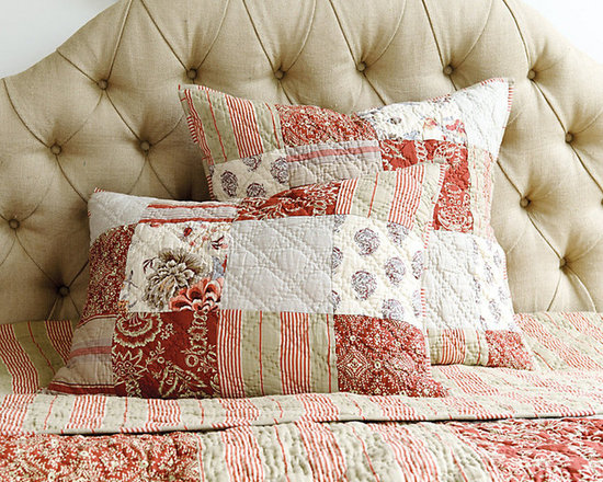 Ballard Designs - Annabel Heirloom Patchwork Sham - Coordinates with our Annabel Patchwork Quilt. Features toile, paisley, stripe & solid patterns. Reverses to contrasting stripe. Machine washable. Our Annabel Patchwork Sham is so soft, it feels like a well-loved family heirloom. The classic patchwork design was created from created from mix of our favorite antique fabrics. Hand quilted and finished with tie-closures. Annabel Patchwork Sham features: . . . .