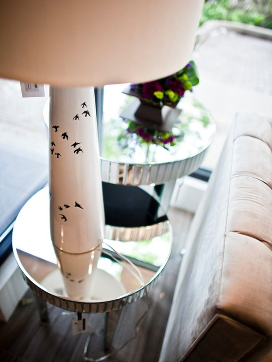 Lighting- lamps - Flocks of birds lightly imprinted on this ceramic lamp base make this lamp a gorgeous addition to any space