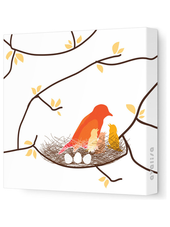 """Avalisa - Imagination - Bird Nest Stretched Wall Art, 28"""" x 28"""", White Yellow - This endearing work of art will brighten your walls and warm your heart. Each piece is printed on fabric and applied to stretchers for a straight-from-the-gallery look. It would make a wonderful addition to a child's room or nursery."""