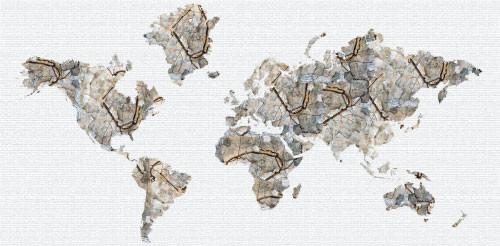 "Studio Map Mural - Schiele Autumn Trees - Wallpaper - 3 Panels - 107"" x 52"" eclectic-wallpaper"