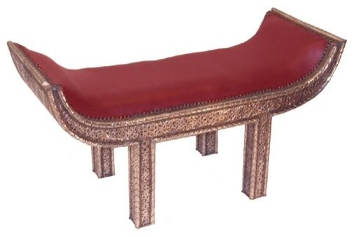 wunderley silver bench with red leather traditional