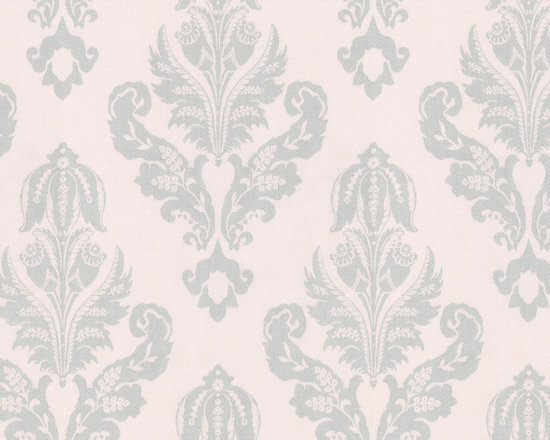 Silver French Damask Fabric - Our exclusive Silver French Damask is featured on a pale blush pink background embellished with a vintage silver gray damask design. Printed on a soft 100% Cotton Twill it's the perfect companion to our French Script fabric.