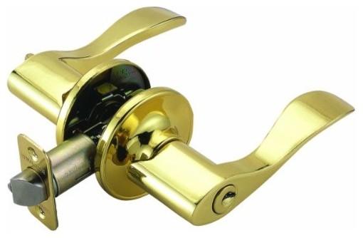 Springdale 2-Way Latch Entry Door Handle, Adjustable Backset, Polished Brass modern-door-hardware