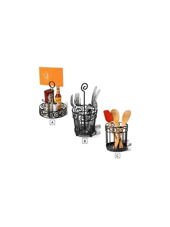 Black Scroll Kitchen Utensil Containers -