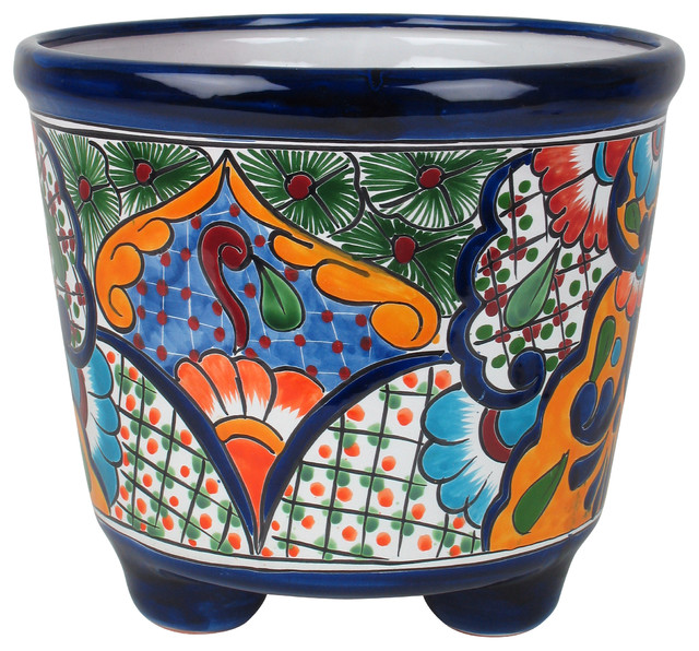 Large Mexican Talavera Footed Planter Rustic Home