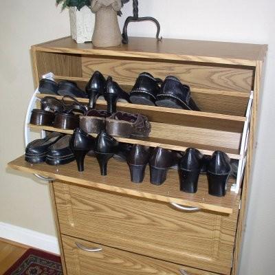 4D Concepts Deluxe Triple Shoe Cabinet - Oak modern-medicine-cabinets