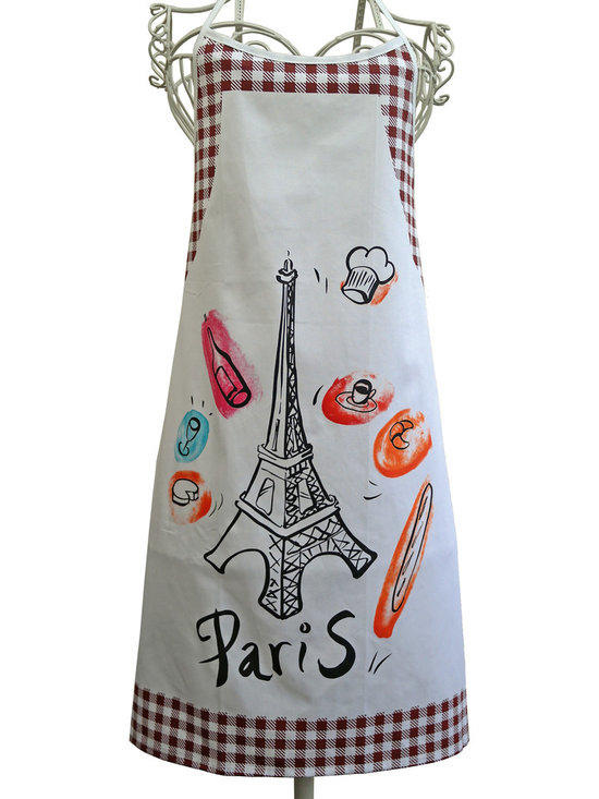 Provence Imports - Paris Bistro Cotton Apron - Redwood - This fun apron includes the main aspects of proper French life: baguette, cheese, croissant, espresso, wine bottle, wine glass, chef hat and -- of course -- the Eiffel tower! Printed in vibrant colors on soft cotton with a dark red bistro check border, it is ready for work.