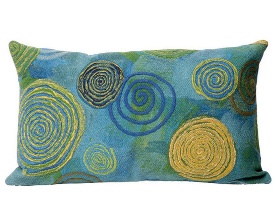 """Trans-Ocean Outdoor Pillows - Trans-Ocean Liora Manne Graffiti Swirl Cool - 12"""" x 20"""" - Designer Liora Manne's newest line of toss pillows are made using a unique, patented Lamontage process combining handmade artistry with high tech processing. The 100% polyester microfibers are intricately structured by hand and then mechanically interlocked by needle-punching to create non-woven textiles that resemble felt. The 100% polyester microfiber results in an extra-soft hand with unsurpassed durability."""