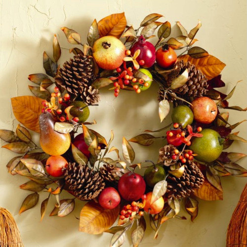 Fall Fruit and Pinecone Wreath contemporary-holiday-outdoor-decorations