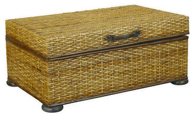Hammary T73256 00 Hidden Treasures Trunk Cocktail Table In Rattan Weaving Traditional Coffee