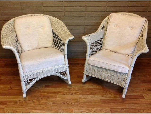 used vintage white wicker rocking chairs a pair beach style rocking chairs by chairish. Black Bedroom Furniture Sets. Home Design Ideas