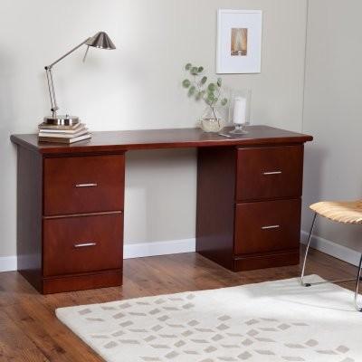 Valona Modern 4-Drawer Desk - Dark Cherry modern-desks