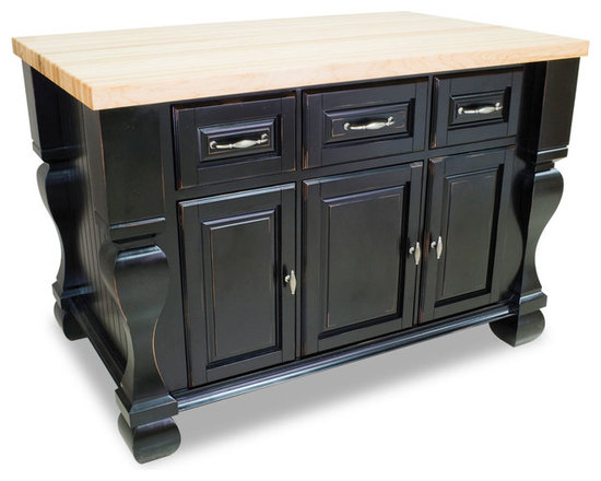 """Inviting Home - Sonoma Kitchen Island (distressed black) - Sonoma kitchen island in distressed black finish; 53-1/2""""W x 33-3/4""""D x 35-1/2""""H; (1-3/4"""" hard maple butcher block top 01 sold separately); Kitchen island features soft-close under-mount slides on drawers soft-close European hinges and fully adjustable shelves. 1-3/4"""" hard maple butcher block top 01 sold separately."""