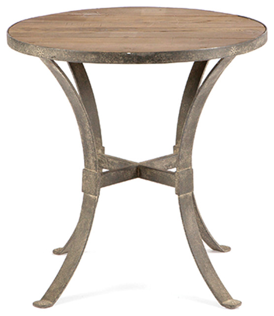 Charles modern rustic reclaimed wood rust iron round side for Iron and wood side table