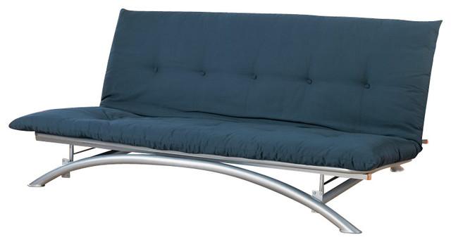 Coaster silver metal futon frame transitional futons for Metal frame futon sofa bed