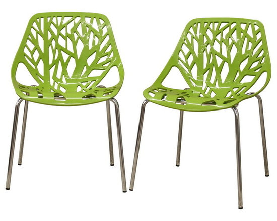 Baxton Studio - Birch Sapling Green Plastic Modern Dining Chairs, Set of 2 - This forest chair lends a modern touch of the beauty of a small grove of trees to your home. The intricate cut-out design is ideal around a minimalist dining table or simply as a standalone chair in an entryway or extra room. It is constructed with a sturdy spring green molded plastic seat atop a steel frame with a shiny silver chrome finish. Black non-marking feet finish off the chair. This chair is stackable, and assembly is required.