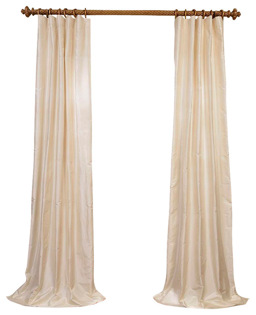 french ivory dupioni silk curtain contemporary