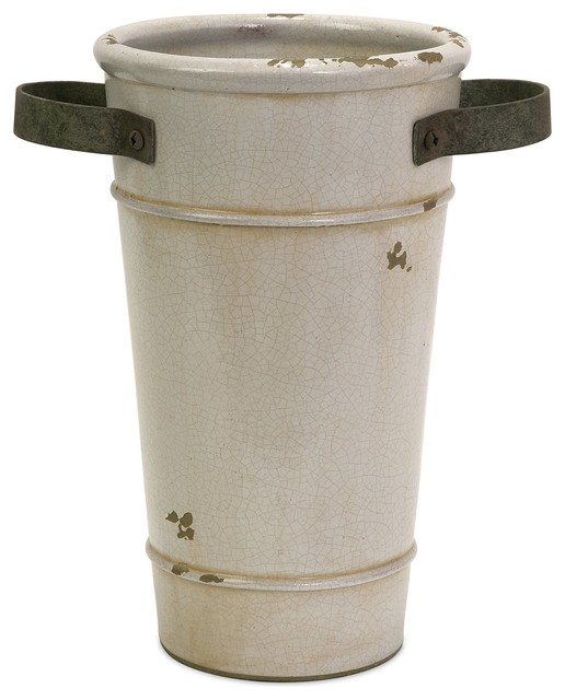 iMax Colfax Tall Planter with Metal Handle X-71067 - Rustic - Indoor Pots And Planters - by ...