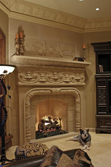 Solomon Fireplace Mantel mediterranean-living-room