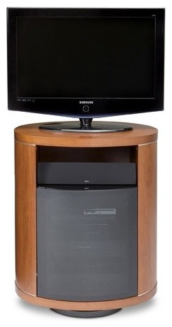 Revo Tall Flat Screen 30 TV Stand in Natural Stained Cherry modern media storage