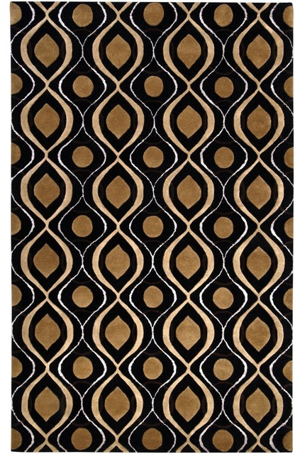 modern classics 8 39 x11 39 rectangle black gold area rug transitional