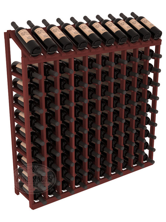 Wine Racks America - 100 Bottle Display Top Wine Rack in Redwood, Cherry Stain - Make your top 10 vintages focal points of your cellar or store. Our wine cellar kits are constructed to industry-leading standards. You'll be satisfied. We guarantee it. Display top wine racks offer ample storage below a presentation row. Great as a stand alone unit or paired with other modular racks from our product lineup.