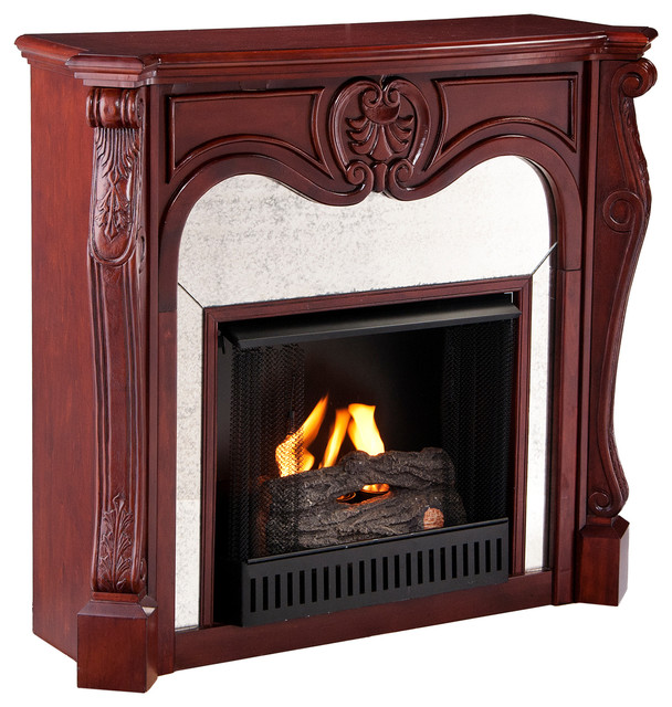 Burbank Gel Fireplace, Cherry traditional-indoor-fireplaces