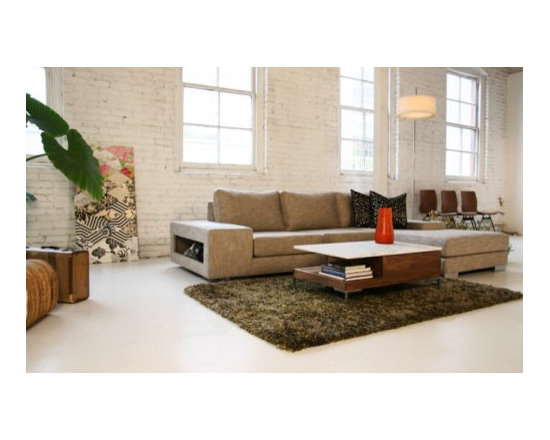 Strata Sectional w/ Arm Storage - Sometimes bigger is better. The Strata is our most popular sofa design. It has a very modern look and with the deep frame embodies what it means to have a loungy sectional sofa. It's the perfect modern sofa for lounging around, watching a film, entertaining or taking a quick nap. Low, wide arms invite additional guests to sit, can be hallowed out for storage, and are the ideal surface for a laptop or your glass of wine.