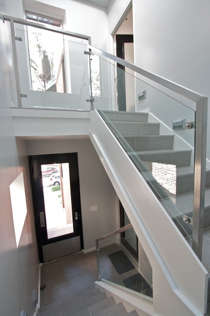 Glass rails contemporary-staircase
