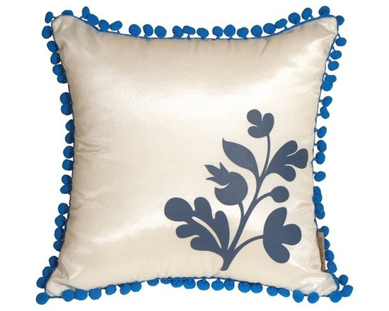 Pillow Decor - Pillow Decor - Bohemian Blossom White and Blue Throw Pillow - This delightful throw pillow has a fringe of lively, blue pom poms around the edge and a bold floral blue print in the corner. The background color of the pillow is a solid shimmering white and the back of the pillow is a solid shimmering blue. Match it up with our large Bohemian Damask throw pillow and you have a wonderful contemporary pillow design story in your home.