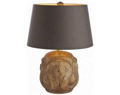 Baroque Antiqued Gold Leaf Lamp | Pulp Home eclectic table lamps