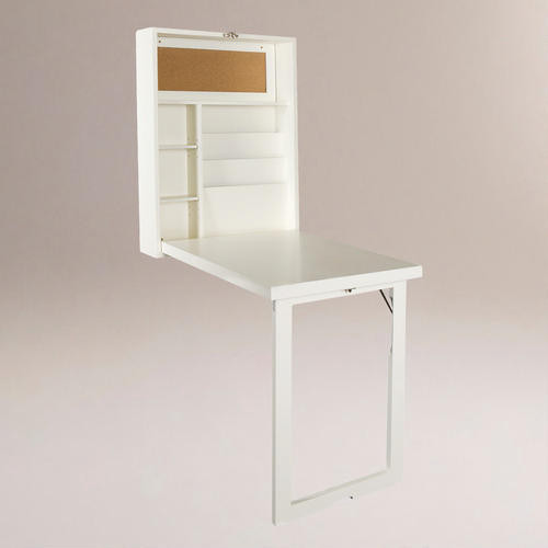 White Alden Foldout Convertible Desk Contemporary