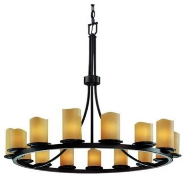 Justice Design Group CandleAria CNDL-8715-14-AMBR-DBRZ Dakota 15-Light 1-Tier Ri modern-chandeliers
