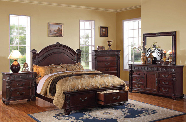 Brown cherry wood bedroom set traditional bedroom for Cherry wood bedroom furniture