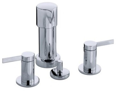 KOHLER K-960-4-CP Stillness Widespread Bidet Faucet with Lever Handles in Vibran contemporary-bidet-faucets