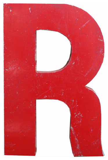 Large Vintage Steel Red Letter 'R' by Aurora Mills contemporary-artwork