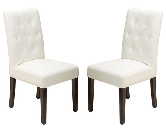 Great Deal Furniture - Waldon Leather Dining Chair, Set of 2, Ivory - Warm welcome: Some chairs just seem to invite company. This is one such design. Crafted in natural hardwoods and leather with plush seating, these gems are tufted back to encourage delightful times over a meal. And should dinner extend into an evening affair, these chairs can do double duty as side chairs in your living room.