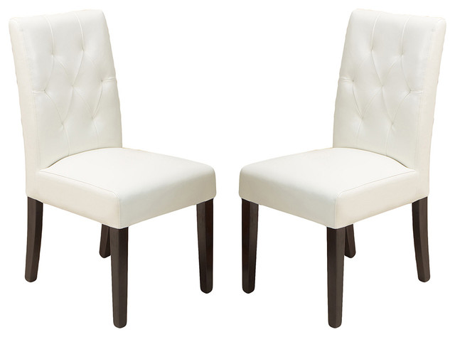 Waldon Leather Dining Chairs, Ivory, Set of 2 traditional-dining-chairs