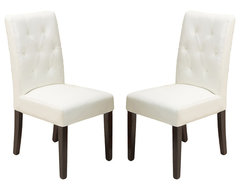 Waldon Leather Dining Chair, Set of 2, Ivory traditional-dining-chairs