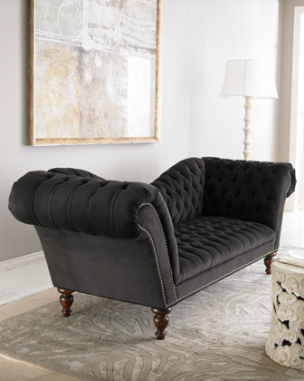 Old Hickory Tannery Black Velvet Recamier traditional sofas