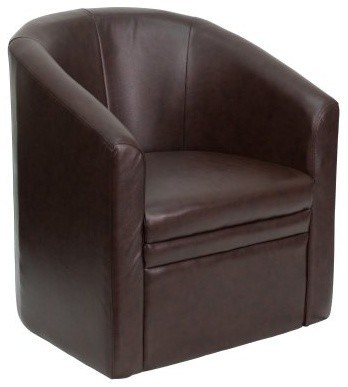 Flash Furniture Barrel-Shaped Guest Chair - Brown Leather contemporary-task-chairs