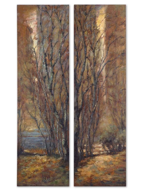 Tree Panels, S/2 by Uttermost - Shop StudioLX for your Tree Panels, S/2 by Uttermost. Frameless hand painted oils on hardboard feature an array of natural earth tone colors.