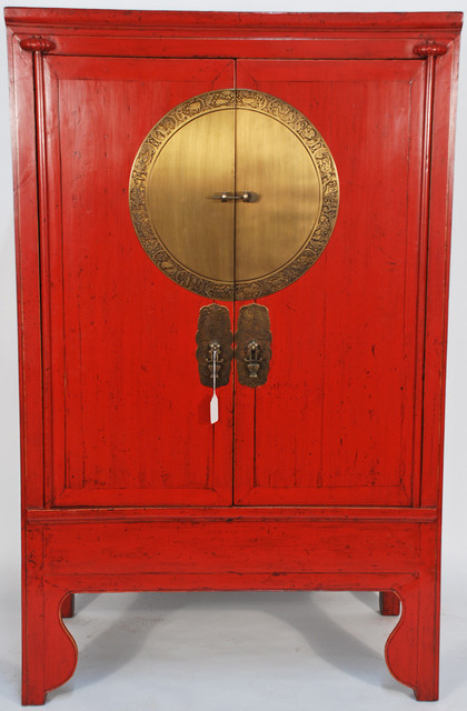 Chinese Antique Wedding Cabinet with Brass Zodiac Medallion - Asian - new orleans - by Silk Road ...