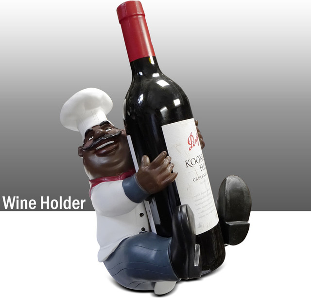 black chef kitchen statue wine holder table art decor traditional decorative objects and. Black Bedroom Furniture Sets. Home Design Ideas