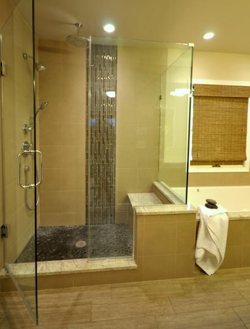 Remodeled master bathroom in bethesda md contemporary - Bathroom tile vertical stripe ...