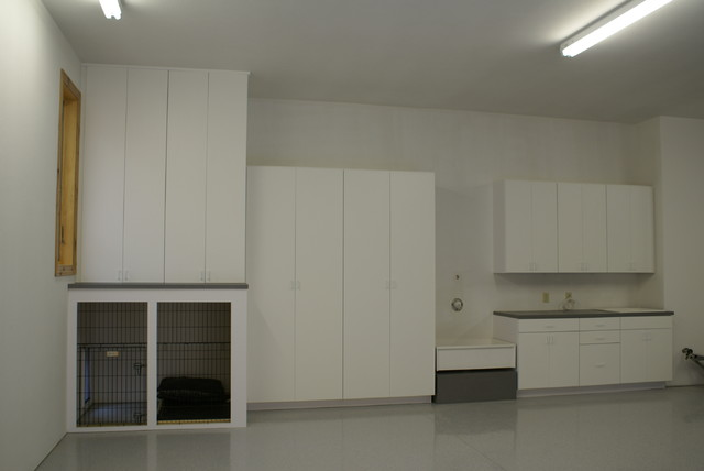 Laminate Garage Cabinets with Dog Kennel modern